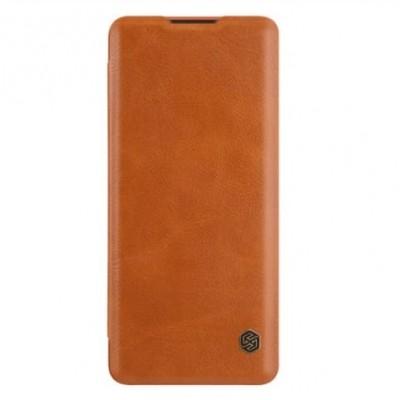 Купить кожаный защитный чехол-книжку коричневый Nillkin Qin для OnePlus 8 - цены отзывы обзоры