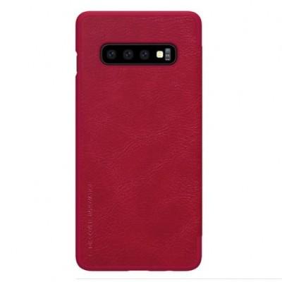 Купить кожаный защитный чехол-книжка Nillkin красный для Samsung Galaxy S10 Plus