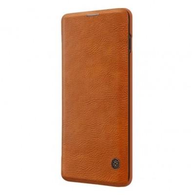 Купить кожаный защитный чехол-книжка Nillkin коричневый для Samsung Galaxy S10 Plus