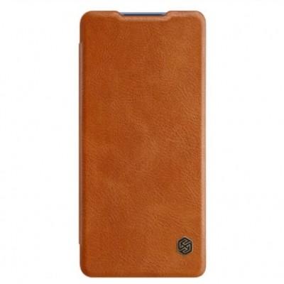 Купить кожаный защитный чехол-книжка Nillkin Qin для Samsung Galaxy S20 Plus Коричневый - цены отзывы обзоры